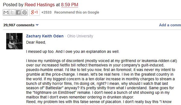 Public backlash to insincere Netflix apology
